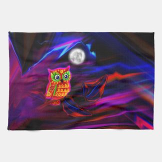 Neon Owl Thunderstorm Flash Kitchen Towel