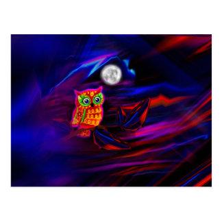 Neon Owl Thunderstorm Flash Postcard