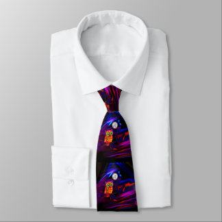 Neon Owl Thunderstorm Flash Tie