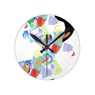 Neon paint blobs funky art round clock