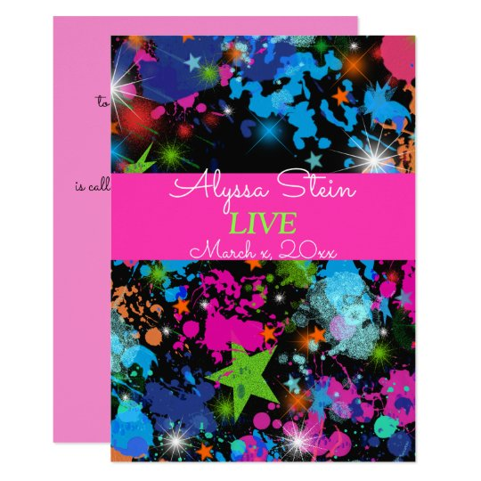 Neon, Paint Splatter, Bat Mitzvah Invitation