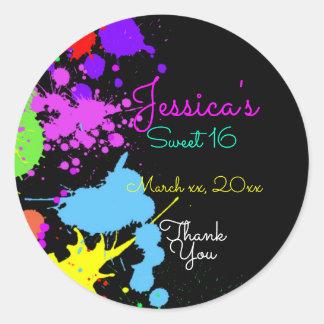 Neon, Paint Splatter, Sweet Sixteen, Bat Mitzvah, Classic Round Sticker
