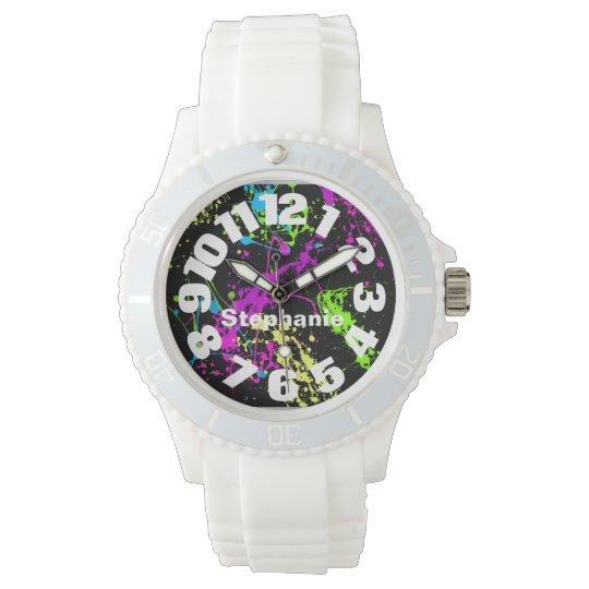 Neon Paint Splatter Wrist Watches