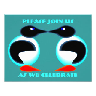 NEON PAIR PENGUINS ANNIVERSARY PARTY INVITATION