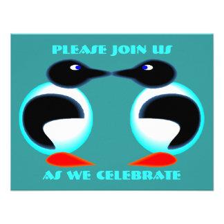 NEON PAIR PENGUINS PARTY INVITATION ~EZ2 CUSTOMIZE