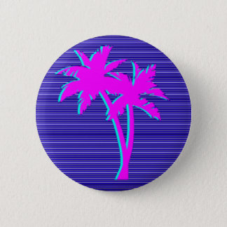 Neon Palm Tree 2 Inch Round Button