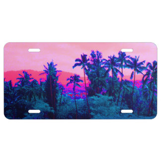 Neon Palm Tree Paradise License Plate