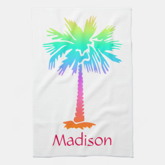 neon palm tree tropical summer bright customizable kitchen towel