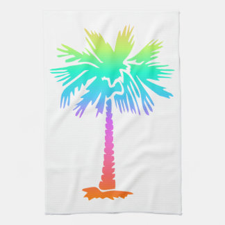 neon palm tree tropical summer colorful kitchen towel