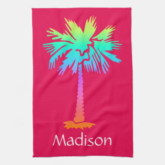 neon palm tree tropical summer pink customizable kitchen towel