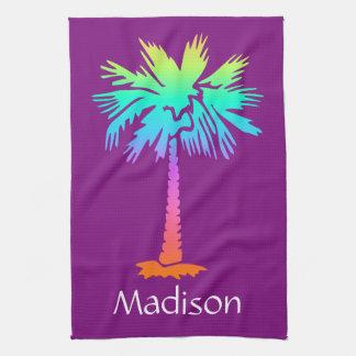 neon palm tree tropical summer purple customizable kitchen towel