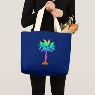 neon palm tropical summer bright colorful large tote bag