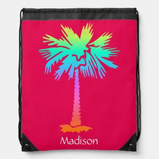 neon palm tropical summer bright colorful pink drawstring bag