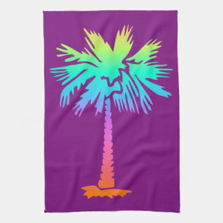neon palm tropical summer bright colorful purple kitchen towel
