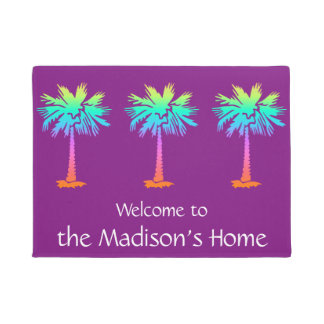 neon palm tropical summer purple customizable doormat