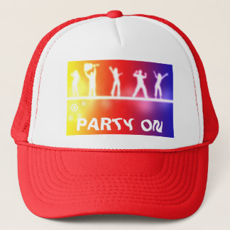 neon party trucker hat