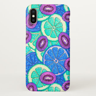 Neon pattern Orange grapefruit and kiwi fruit iPhone X Case