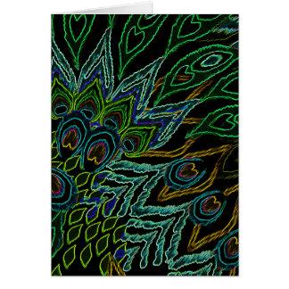 Neon Peacock Card