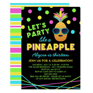 Neon Pineapple Birthday Party Card