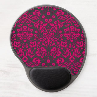 Neon Pink and Black Damask Gel Mouse Pad