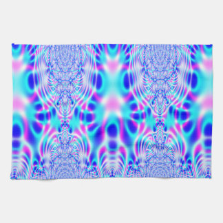 Neon Pink and Blue Rocket Abstract Towels