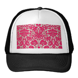 Neon Pink and Gold Damask Trucker Hat