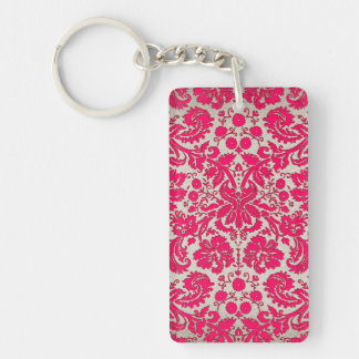 Neon Pink and Gold Damask Acrylic Keychain