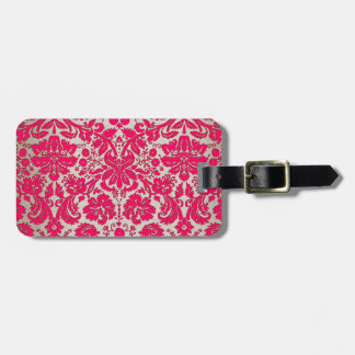 Neon Pink and Gold Damask Bag Tags