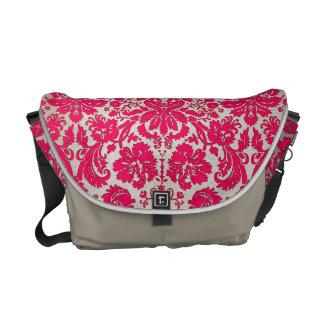 Neon Pink and Gold Damask Messenger Bag