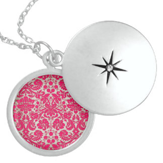 Neon Pink and Gold Damask Lockets
