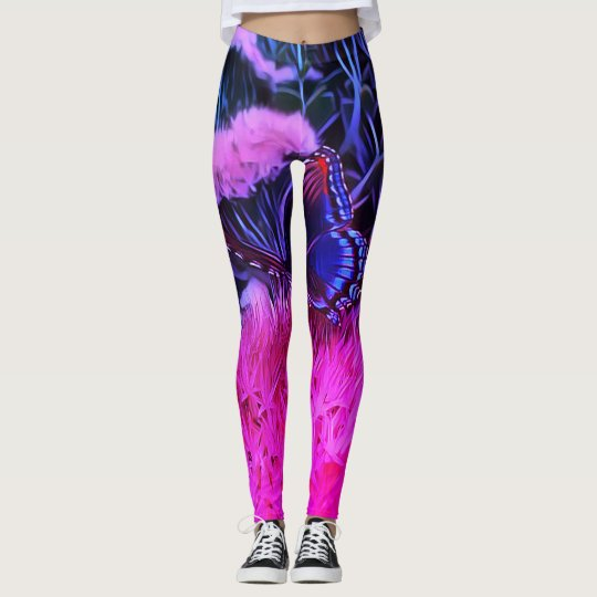 Neon Pink Blue Flowers With Monarch Butterfly Leggings