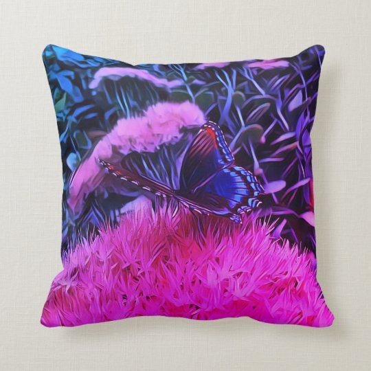 Neon Pink Blue Flowers With Monarch Butterfly Throw Pillow