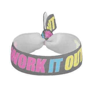 Neon Pink, Blue & Yellow Cute WORK IT OUT Fitness Hair Tie