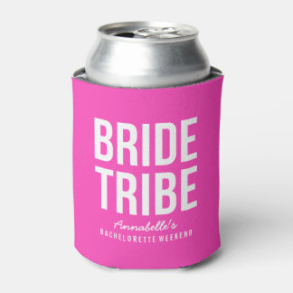 Neon Pink Bride Tribe Can Cooler