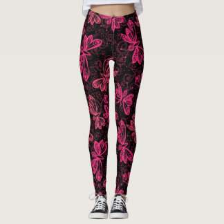 Neon Pink Buttflies Leggings