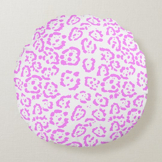 Neon Pink Cheetah Animal Print Round Pillow