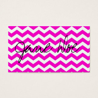 Neon pink chevron Business Cards