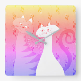 Neon Pink Floral Cartoon Romantic Love Cat Couple Square Wall Clock
