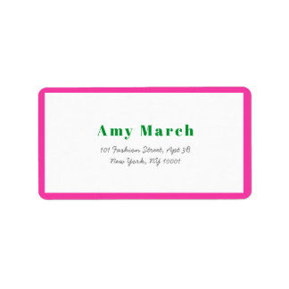 Neon Pink Frame Trendy Address Label