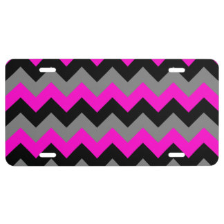Neon Pink Gray and Black Zigzag License Plate