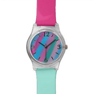 Neon pink green blue stripes pattern watch