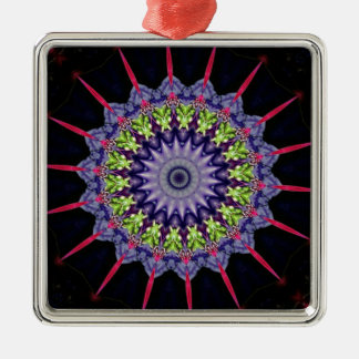 Neon Pink Green Lavender Mandela With Spikes Silver-Colored Square Ornament
