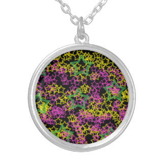 Neon Pink Green & Yellow Star Outlines on Black Round Pendant Necklace
