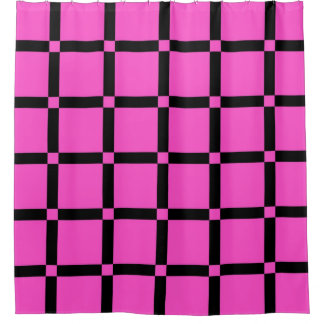 Neon Pink Grid Pattern Throw Pillow