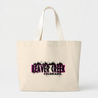 Neon pink grunge Beaver Creek Colorado Large Tote Bag