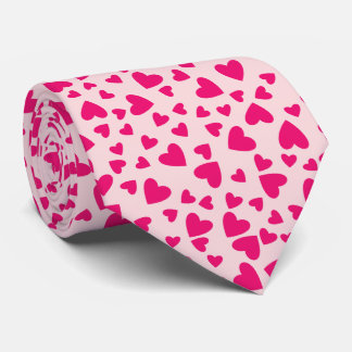 Neon Pink Hearts on Light Pink Background Tie