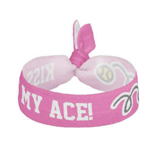 Neon pink KISS MY ACE funny tennis girls hair tie