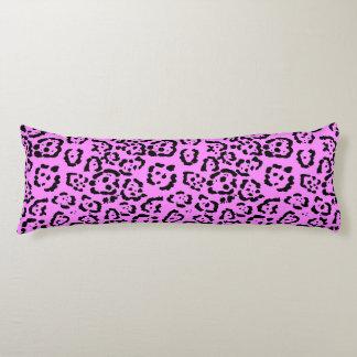 Neon Pink Leopard Print Animal Pattern Body Pillow