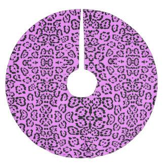 Neon Pink Leopard Print Animal Pattern Brushed Polyester Tree Skirt