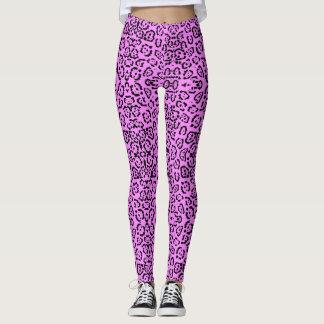 Neon Pink Leopard Print Animal Pattern Leggings